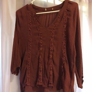 Tops - Burnt Sienna High-Low Floral Patterned Blouse